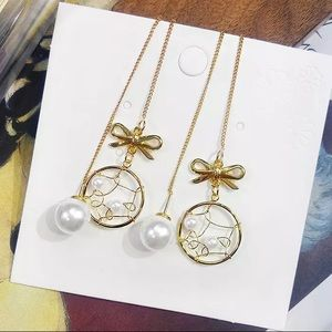 Bow Knot Pearl Beaded Tassel Drop Earrings
